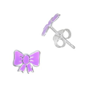 Kids earrings Silver 925 Enamel Ribbon Bow Hair_bow