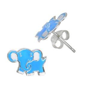 Kinder Ohrringe Silber 925 Email Ganesha Elefant