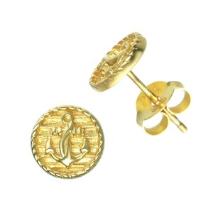 Ear studs Silver 925 Gold-plated Anchor