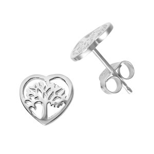 Ear studs Silver 925 Heart Love Leaf Plant_pattern