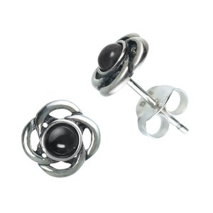Ear studs Silver 925 Gemstone Flower