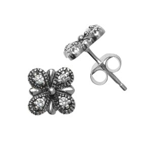 Ear studs Silver 925 zirconia Flower Leaf Plant_pattern