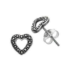 Ear studs Silver 925 Heart Love