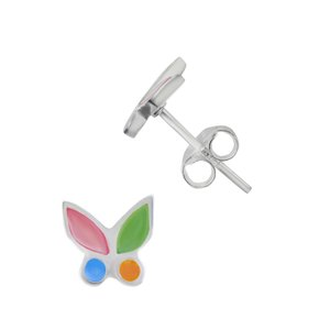 Kids earrings Sea shell Silver 925 Butterfly