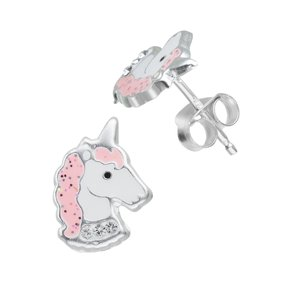 Kids earrings Silver 925 Crystal Epoxy Unicorn