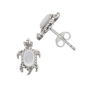 Kids earrings Silver 925 Mother of Pearl Turtle Tortoise