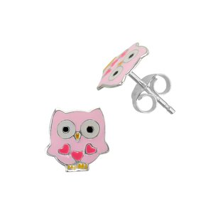Kids earrings Silver 925 Epoxy Owl