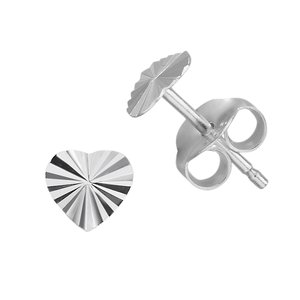 Ear studs Silver 925 Heart Love Stripes Grooves Rills