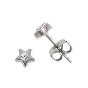 Earrings Titanium Crystal Star
