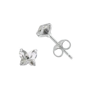 Kids earrings Silver 925 Swarovski crystal Butterfly
