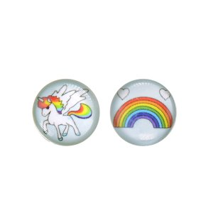 Kids earrings Silver 925 Epoxy Unicorn