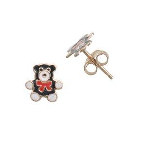 Kinder Ohrringe Silber 925 PVD Beschichtung (goldfarbig) Epoxiharz Bär Bärchen Teddy Schleife Geschenkband Haarschlaufe