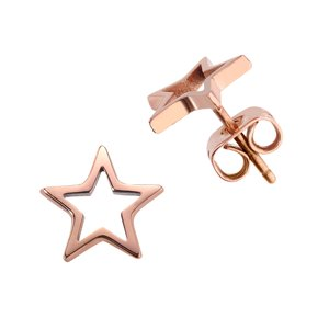 Earrings Titanium PVD-coating (gold color) Star