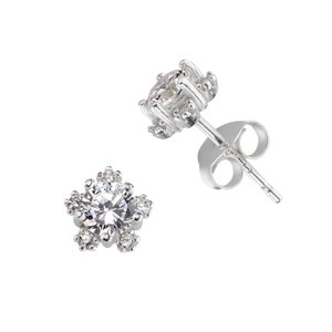 Ear studs Silver 925 zirconia Flower