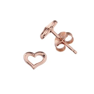 Ear studs Silver 925 Gold-plated Heart Love