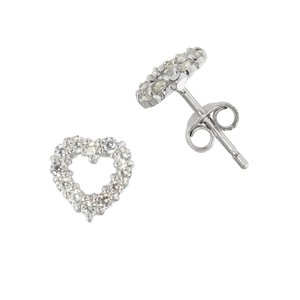 Ear studs Silver 925 zirconia Heart Love