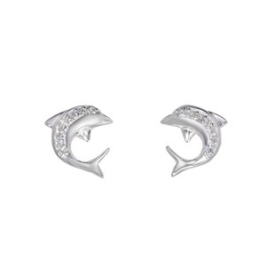 Ohrstecker Silber 925 Zirkonia Fisch Delphin Delfin