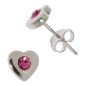 Earrings Silver 925 Crystal Heart Love