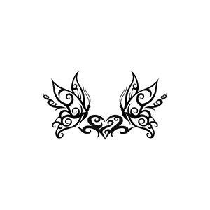 Fake-Tattoo Dessin_tribal Motif_tribal Papillon Coeur C?ur Amour