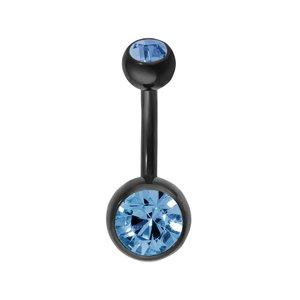 Piercing de ombligo Titanio Cristal Revestimiento PVD (negro)
