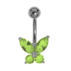 Piercing nombril Titane Laiton rhodié Cristal Papillon