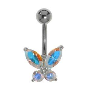 Piercing de ombligo Titanio Latón al rodio Cristal Mariposa