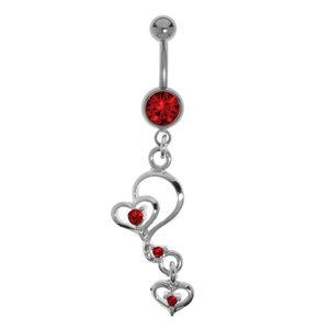 Bellypiercing Titanium Rhodium plated brass Crystal Heart Love