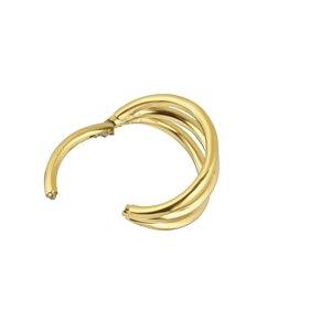 Piercing orecchio Titanio Rivestimento PVD (colore oro) Striatura Banda Incavo
