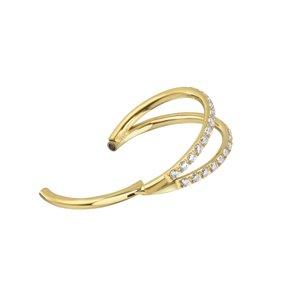 Piercing orecchio Titanio Cristallo Rivestimento PVD (colore oro) Striatura Banda Incavo