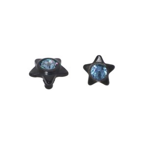 Dermal-Anchor tops Titanium Crystal Black PVD-coating Star