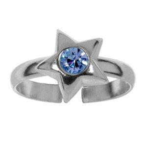 Zehenring Silber 925 Kristall Stern