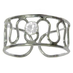 Zehenring Silber 925 Kristall Welle