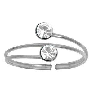 Anillo de pie Plata 925 Cristal Espiral