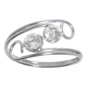 Anillo de pie Plata 925 Cristal Espiral Eternidad Lazo Eternal