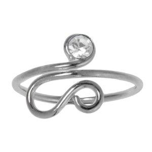 Bague de doigt de pied Argent 925 Cristal Spirale