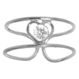 Anillo de pie Plata 925 Cristal Corazón Amor