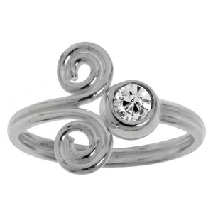 Toering Silver 925 Crystal Spiral Eternal Loop Eternity