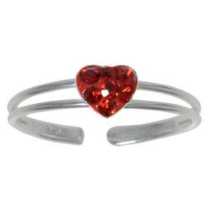Bague de doigt de pied Argent 925 Cristal Coeur C?ur Amour