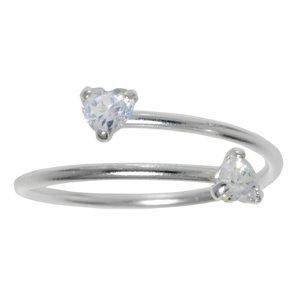 Anillo de pie Plata 925 Cristal Corazón Amor Espiral