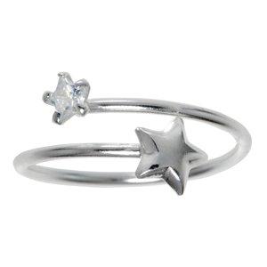 Anillo de pie Plata 925 Cristal Espiral Estrella