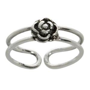 teenring Zilver 925 bloem roos