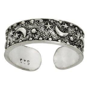 Zehenring Silber 925 Silber 925 Stern Mond Halbmond Om Aum Gott