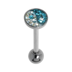 Tongue piercing Surgical Steel 316L Swarovski crystal Epoxy Yin_Yang Taijitu