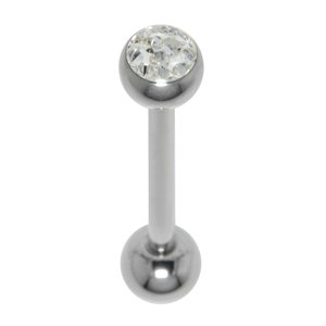 Tongue piercing Surgical Steel 316L Crystal Epoxy