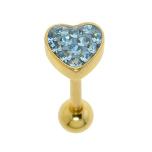 Tongue piercing Surgical Steel 316L Gold-plated Crystal Epoxy Heart Love