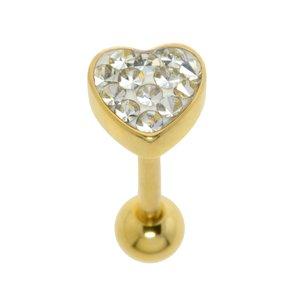 Zungenpiercing Chirurgenstahl 316L Gold-Beschichtung (vergoldet) Kristall Epoxiharz Herz Liebe