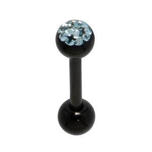 Tongue piercing Surgical Steel 316L Black PVD-coating Crystal Epoxy