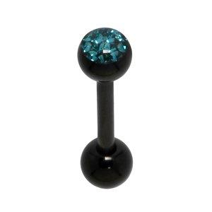 tongpiercing Chirurgisch staal 316L PVD laag (zwart) Kristal Epoxihars