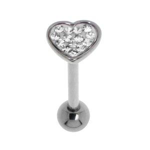 Tongue piercing Surgical Steel 316L Swarovski crystal Epoxy Heart Love