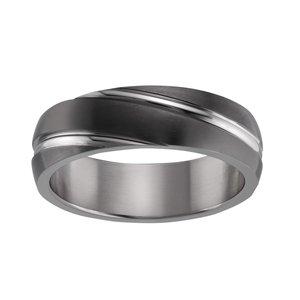 Titan Ring Titanium PVD laag (zwart) streep lijn ribbels